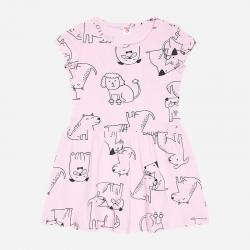 Платье для девочки, нежно-розовый, собачки, К 5598