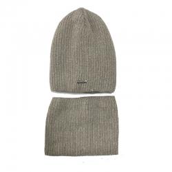 Комплект 2153 Zorba шапка на утеплителе, подклад хлопок+снуд, бежевый