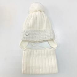 Комплект 3164 Florenja1 шапка с утеплителем, подклад хлопок+снуд , белый