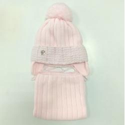 Комплект 3164 Florenja1 шапка с утеплителем, подклад хлопок+снуд , св.розовый