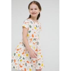 Платье для девочки, К 5646/сливки,осенний лес к1270