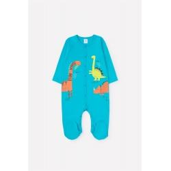 Комбинезон для мальчика ясельного возраста, К 6380/сочная бирюза(цветные динозавры)