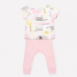 комплект для девочки ясли, К 2725/звери линейки+карамельно-розовый