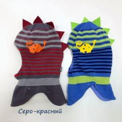 Шлем для мальчика деми, серо-красный, 2835 DINOZAUR