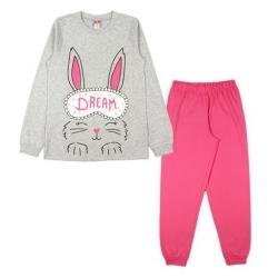 Комплект для девочки серый меланж/розовый, CAJ 5427