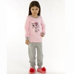 Пижама детская, с принтом, цвет розовый/серый меланж, GP 045-001