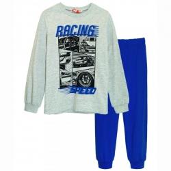 Пижама д/м, серый меланж/синий, 92123