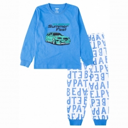 Пижама  для мальчика N13К-5/9 (т.голубой/ белый (буквы))