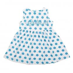 Платье для девочки, бирюз.горох на белом, К 5433