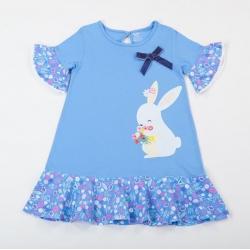 Платье для девочки, принт голубой, 00084_BAT